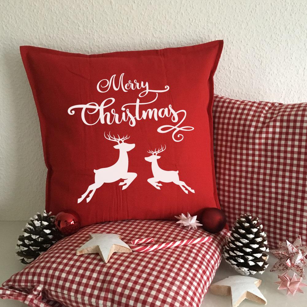 Bedrucktes Merry Christmas Rentier Kissen