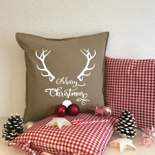 Bedruckte Merry Christmas Sofa Kissen in verschiedenen Farben