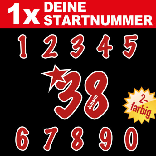 Motorrad Startnummern mit Namen individualisiert