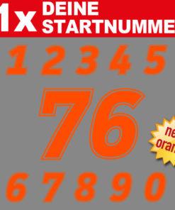 Motorrad Startnummer in neon orange