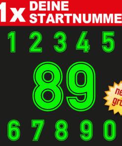 Motorrad Startnummer in neongrün