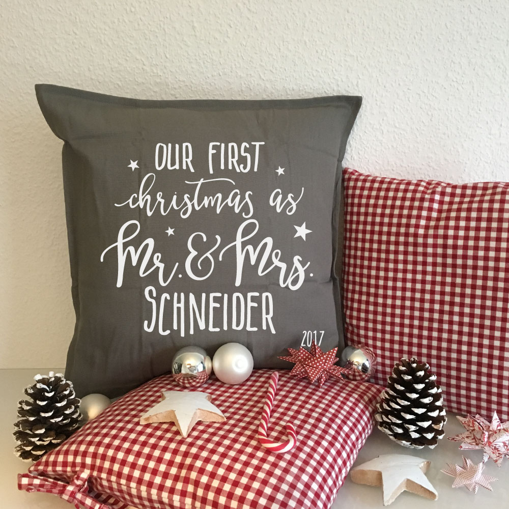 Bedrucktes Mr. Mrs. Weihnachtes Kissen