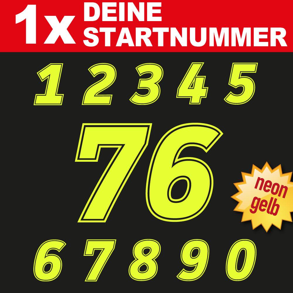 MX Motorrad Startnummer in der Farbe neongelb
