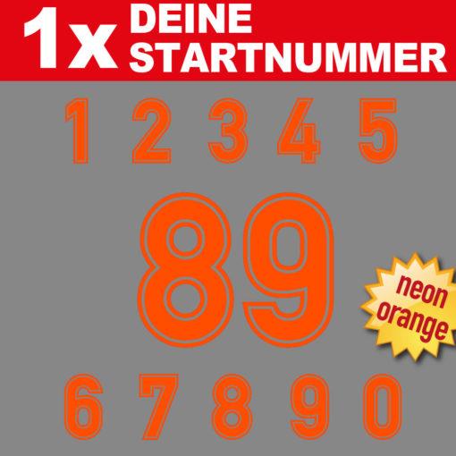 Neon Startnummer für den Klassik Motorsport