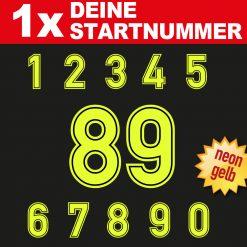 Neon Startnummer für den Motorsport