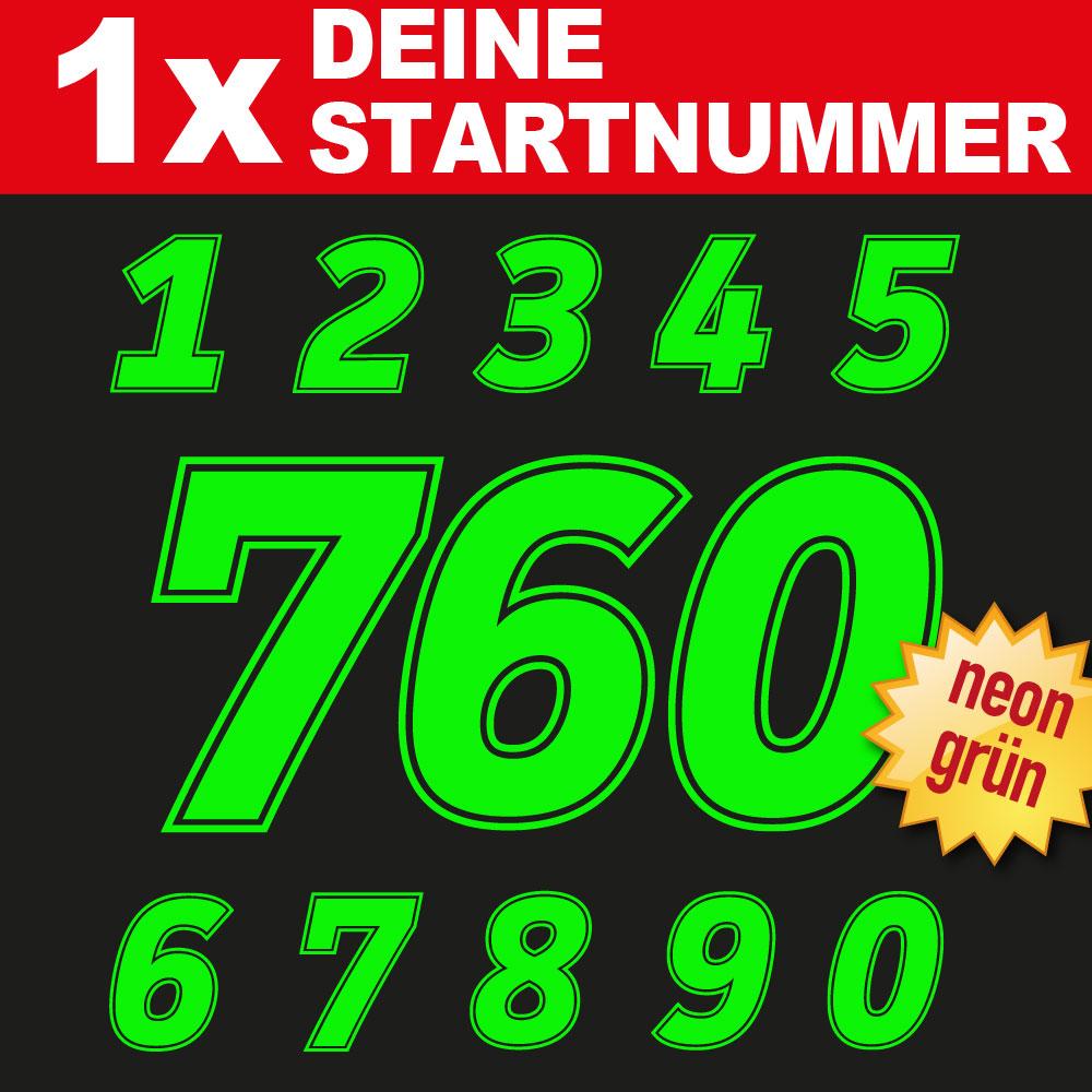 Neon Startnummer für den Rennsport
