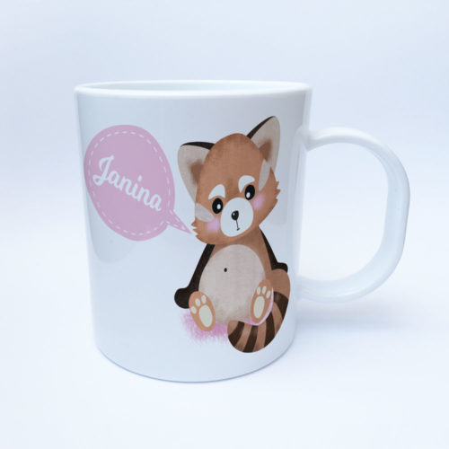 Panda Kunststofftasse mit Wunschnamen bedruckt