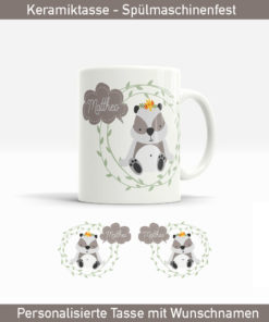 Panda Tasse mit süßen Panda Bär im Blütenkranz