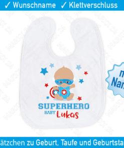 Personalisiertes Babylätzchen Superhero
