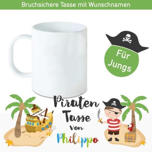 Piraten Kunststofftasse mit Namen