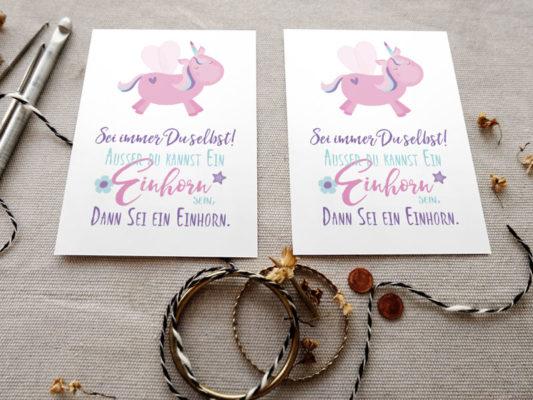 Kinder Postkartenmotive mit Einhorn