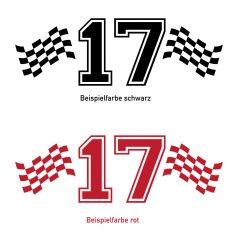 Racing Startnummer Flagge in verschieden Farben