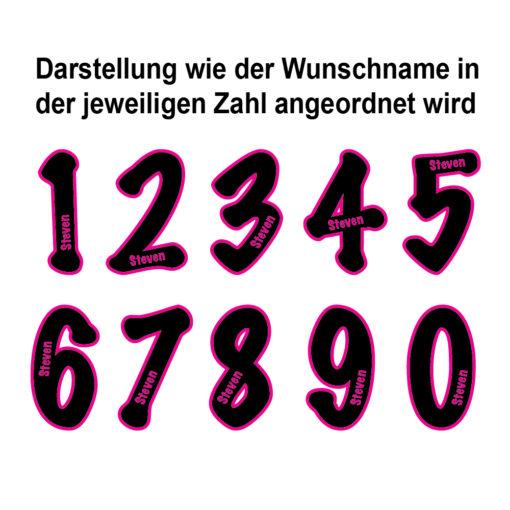 Ralley Zahlen mit Namen individuell angefertigt