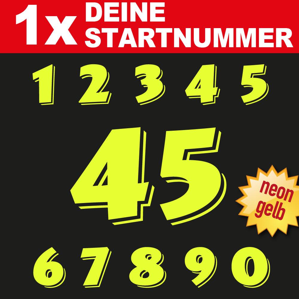 Rennsport Aufkleber Startnummer in neon gelb