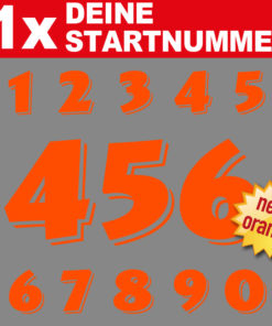 Motorrad Rennsport Zahlen neon orange