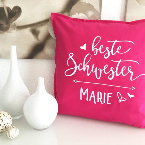 Kissen Schwesterherz Geschenk Idee
