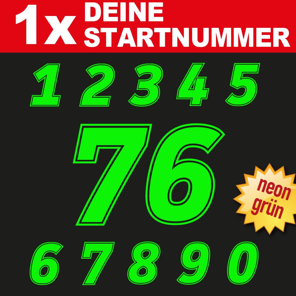 Startnummer für Fahrzeuge fluoreszieren in neon grün