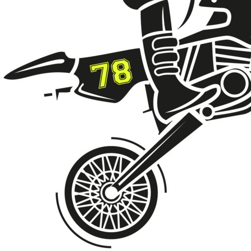 Startnummer Moped in neon