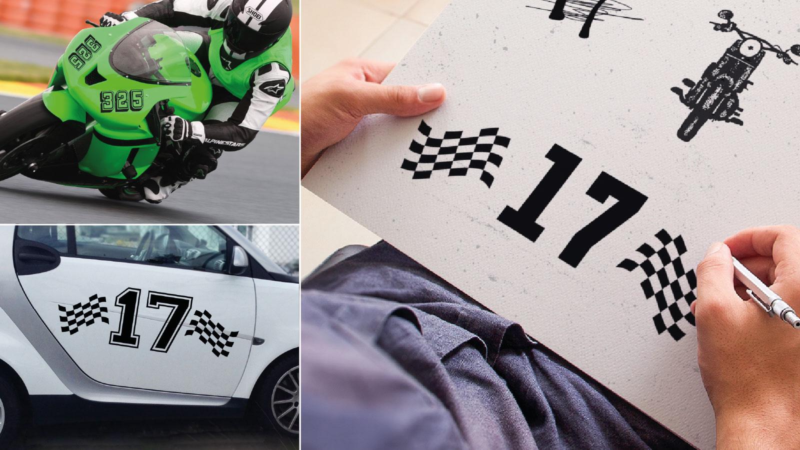 Motocross Zahlen für die Motocrossstrecke online im Shop gestalten