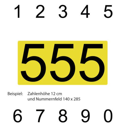 Dreistellige Kartsport Ziffern mit gelber Untergrundfolie