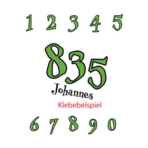 Startnummern mehrfarbig mit Namen unter der Zahl