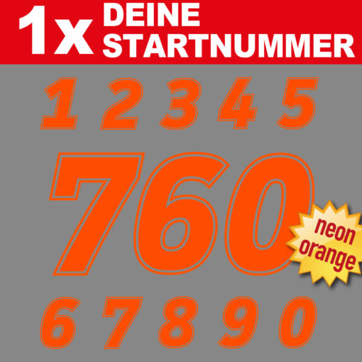 Startnummern Zahlen Aufkleber in neon für den Motorsport