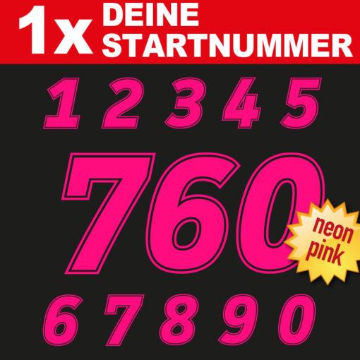 Startnummern Zahlen in neon pink für die Rennstrecke