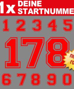 Motorrad Startnummern Zahlen in neon rot