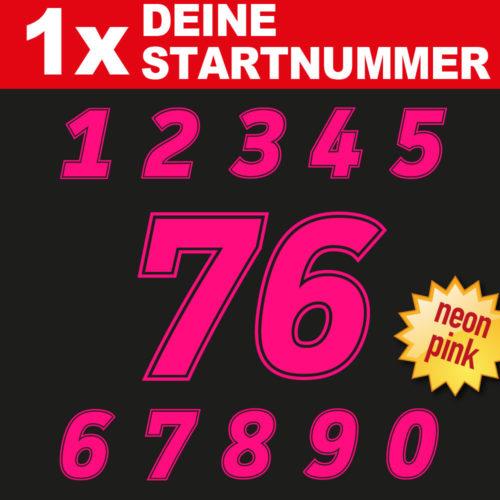 Startnummern Zahlen Set in neonpink