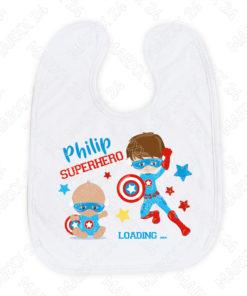Superhero Babylätzchen mit Name