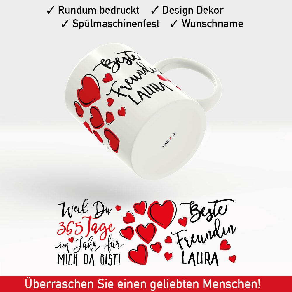 tasse beste freundin der welt mit namen und roten herzen als geschenk. Black Bedroom Furniture Sets. Home Design Ideas