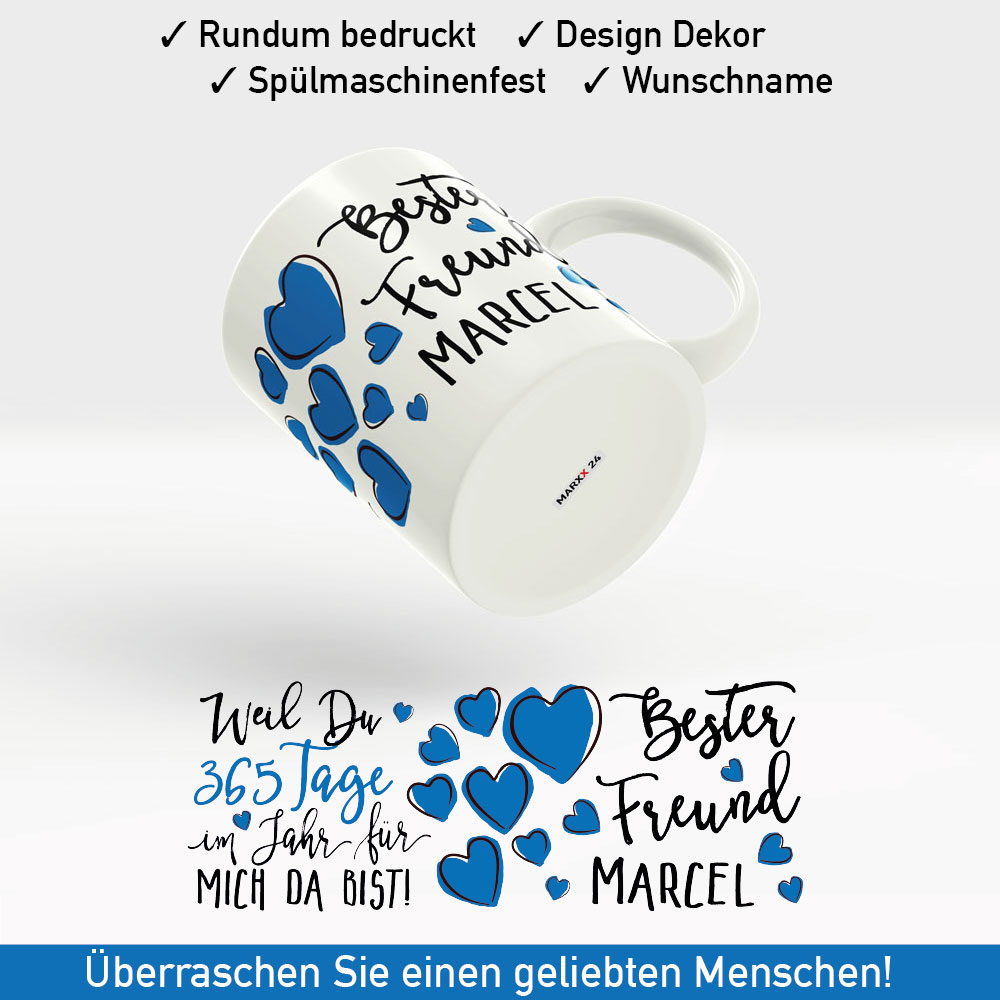 tasse bester freund der welt mit namen und blauen herzen. Black Bedroom Furniture Sets. Home Design Ideas