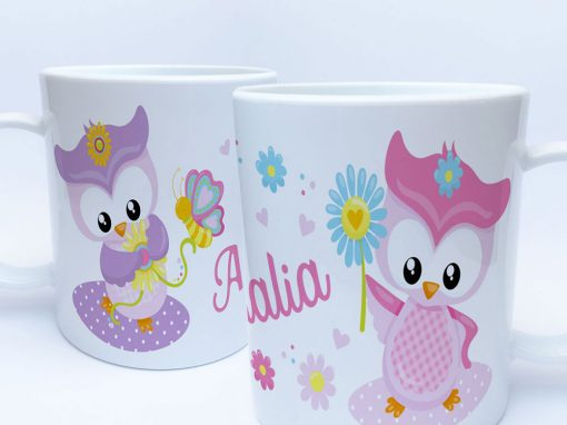 Kunststoff Tasse Eule mit Name