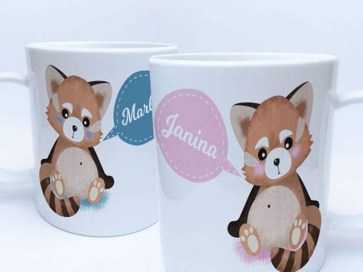 Panda Geschenke Tasse für den Kindergarten mit Name