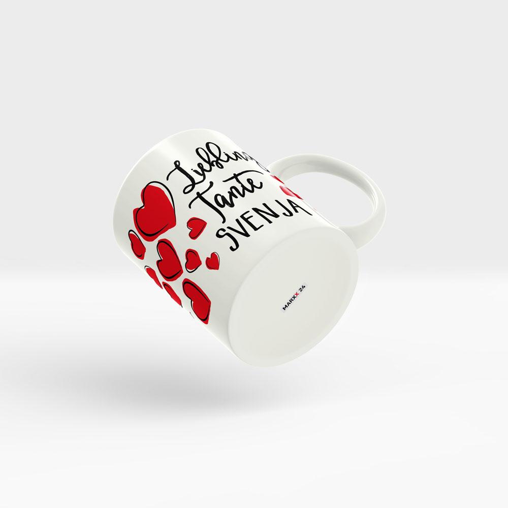 Tasse Lieblingstante Namen mit roten Herzen