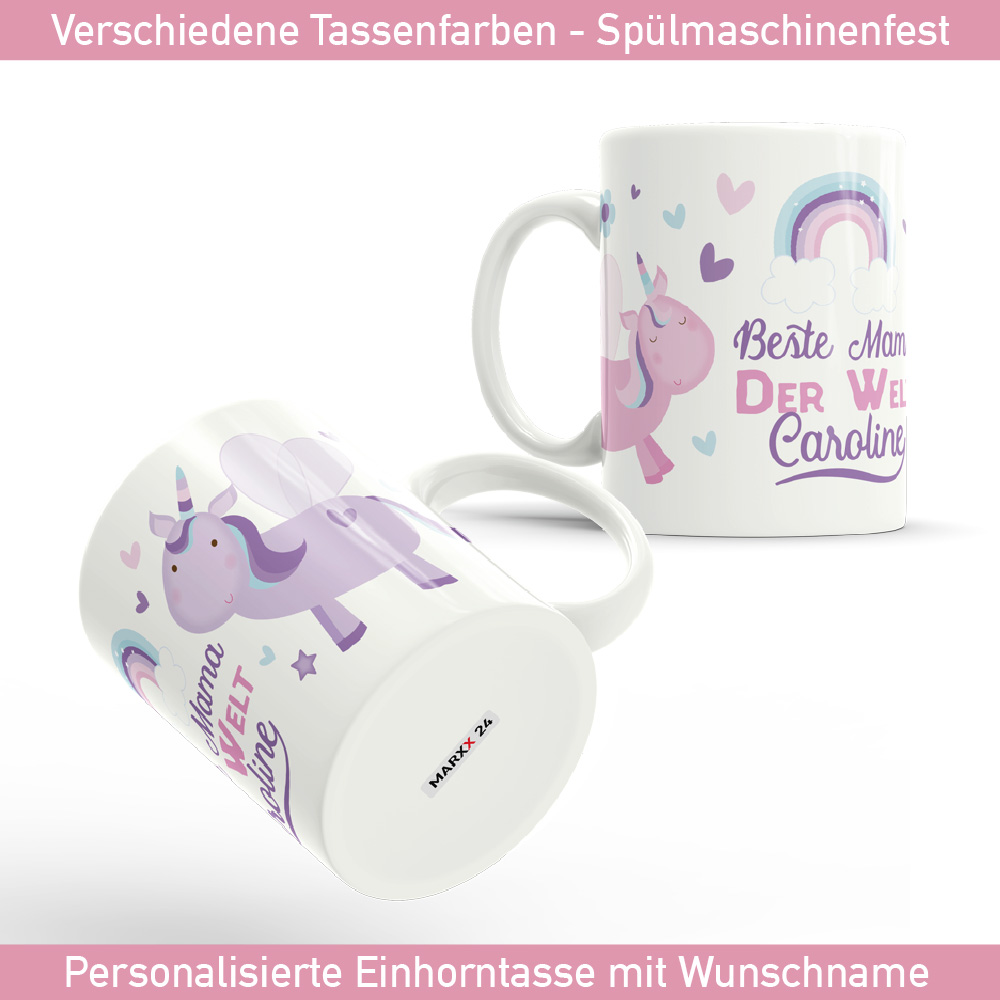tasse muttertag beste mama der welt mit einhorn und name. Black Bedroom Furniture Sets. Home Design Ideas