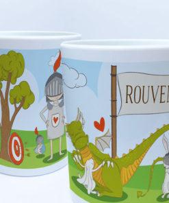 Ritter und Drache auf einer Tasse