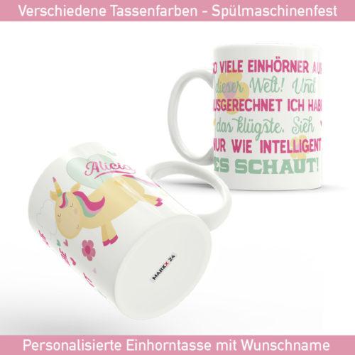 Tasse Spruch mit Einhorn Motiv und Wunsch Name