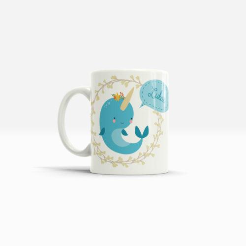 Kinder Tasse Wal mit Namen