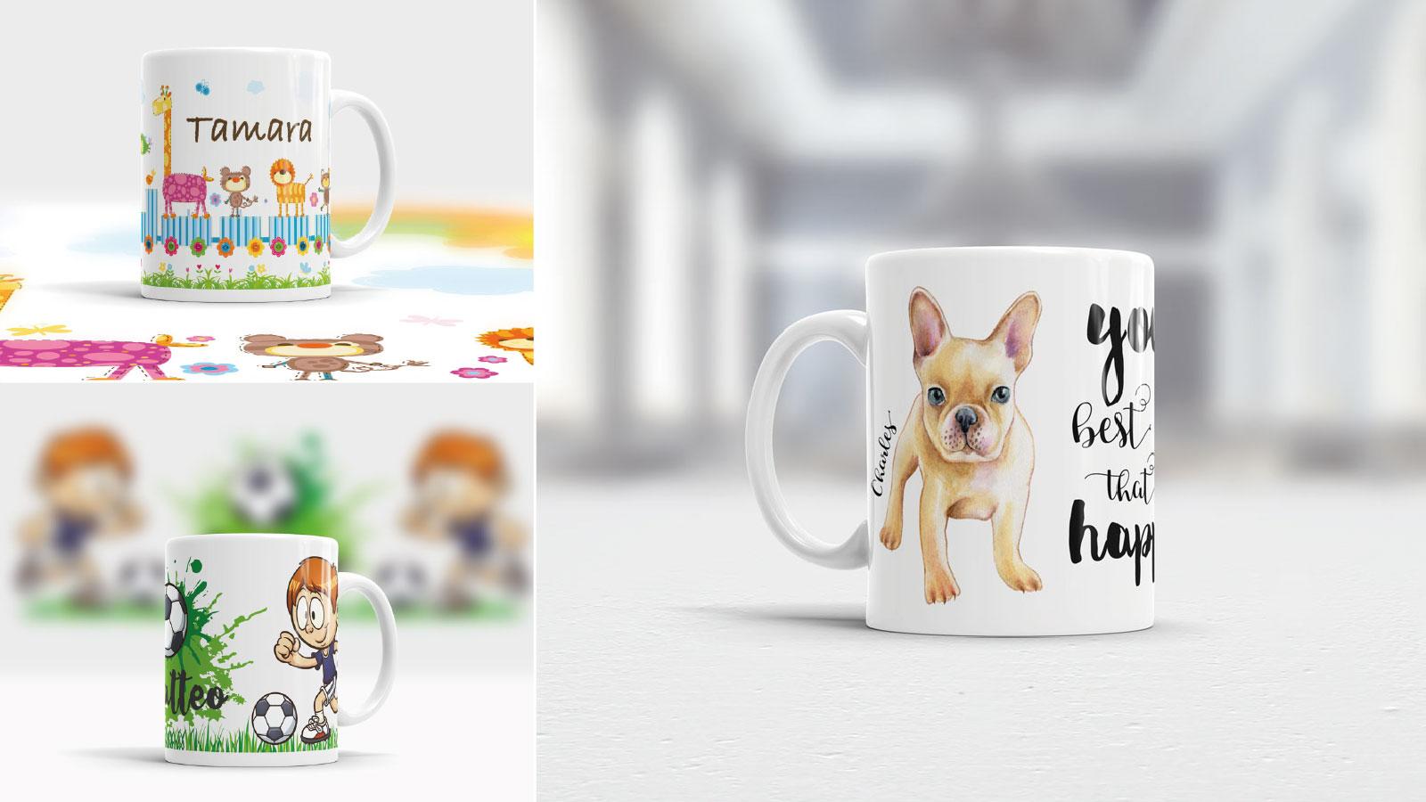 Kunststoff und Keramik Tassen mit Namen bedrucken