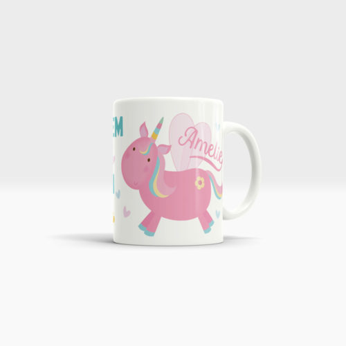 white unicorn coffee mug