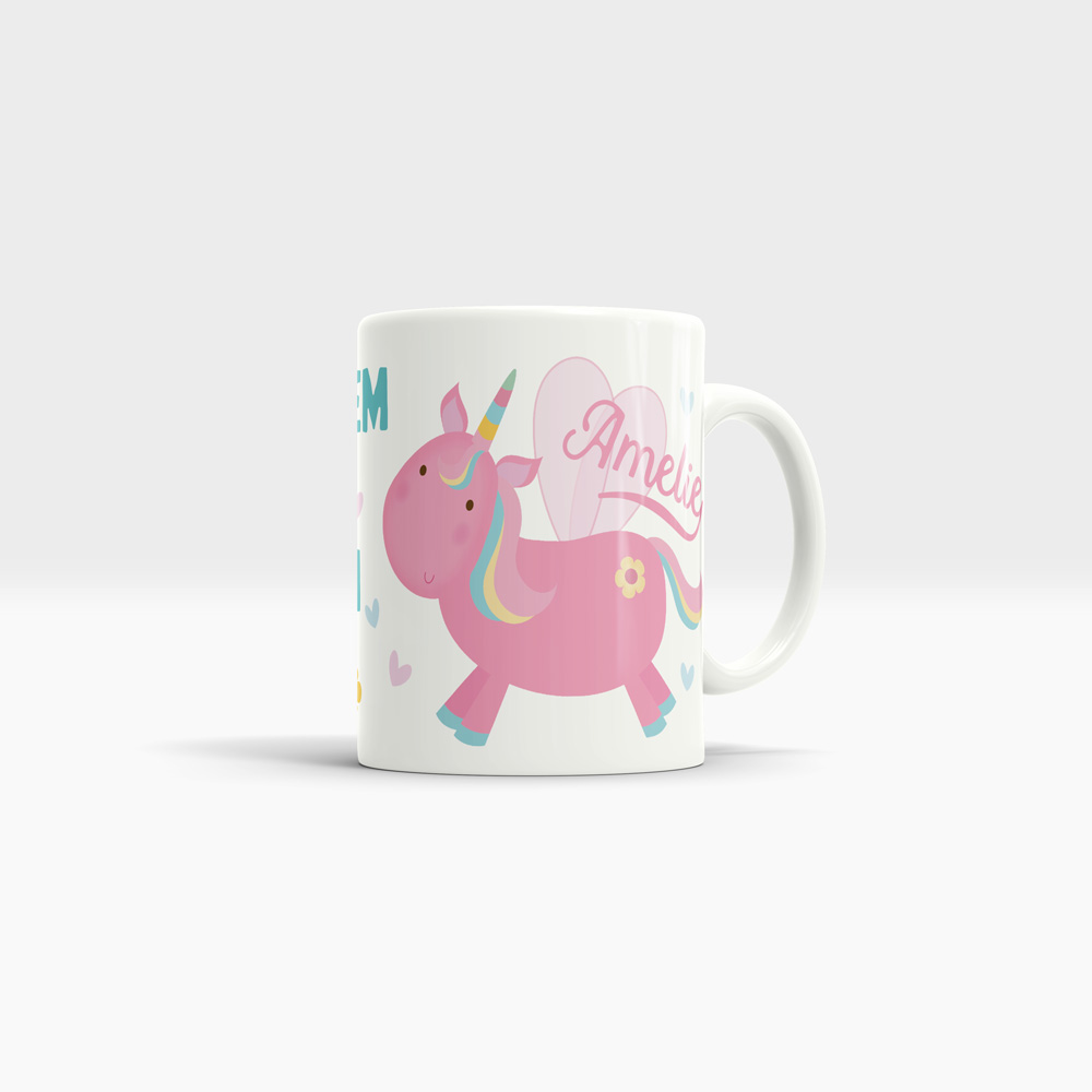 white unicorn coffee mug