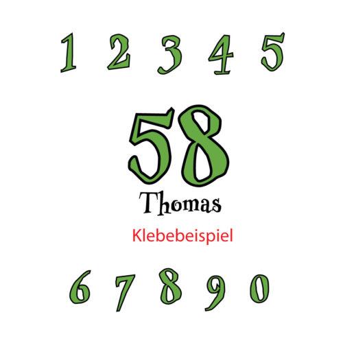 Zweifarbige Startnummern in verschiedenen Höhen mit Name
